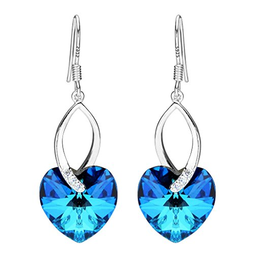 EleQueen 925 Sterling Silver CZ Love Heart French Hook Dangle Earrings Bermuda Blue Adorned with Swarovski Crystals (Bermuda Blue Crystal Ring compare prices)