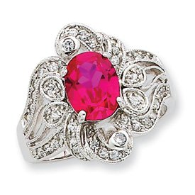 Sterling Silver Red and Clear CZ Ring - Size 6 - JewelryWeb