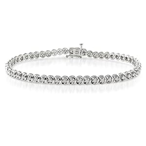 Sterling Silver 1 CT TDW Diamond Tennis Bracelet (G-H, I3)