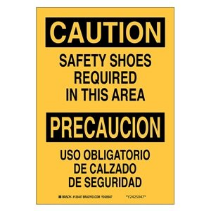 """Brady 125446 Bilingual Sign, Legend """"Safety Shoes Required"""