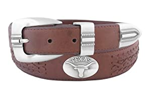 NCAA Texas Longhorns Full Grain Leather Braided Concho Belt by ZEP-PRO