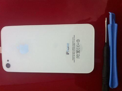 White Real Glass Iphone 4 At&T Back Housing Back Cover Battery Replacement Door Glass. Full Housing With Frame, Comes With Small Star Screw Driver Needed For Installation.