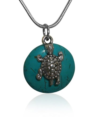 Turquoise Round Pendant on Silver EP Snake Chain Necklace with Turtle Charm 18 inch