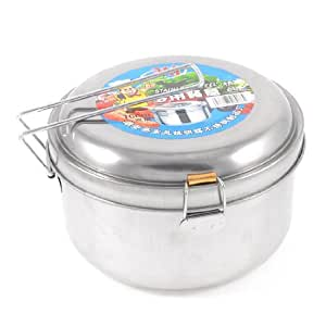 Stainless Steel Detachable Handle 2 Layers Lunch Box 6.3 Inch Dia