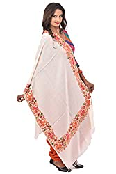 Weavers Villa - Women's Kashmiri Floral Embroided White Woollen Shawls , Stoles