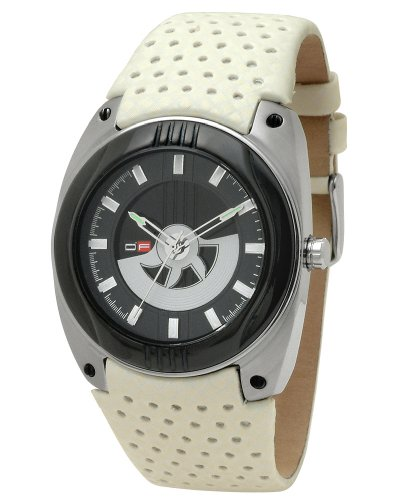 DFactory Men's DFI021YBW White Label Black Dial Cream Leather Strap Watch