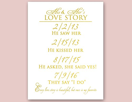 Gold Foil Wedding Print Love Story Wall Art Real Foil Wedding Sign
