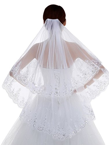 Poplarboy 2 Tier Lace Beaded Edge Fingertip Length Bridal Wedding Veil Ivory