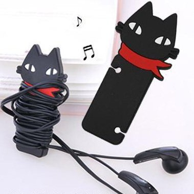 2X Black Cat Headphone Earbud Earphone Cord Cable Rubber Winder Manager Organizer