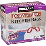 Kirkland Signature Drawstring Kitchen Trash Bags - 13 Gallon - 200 Count