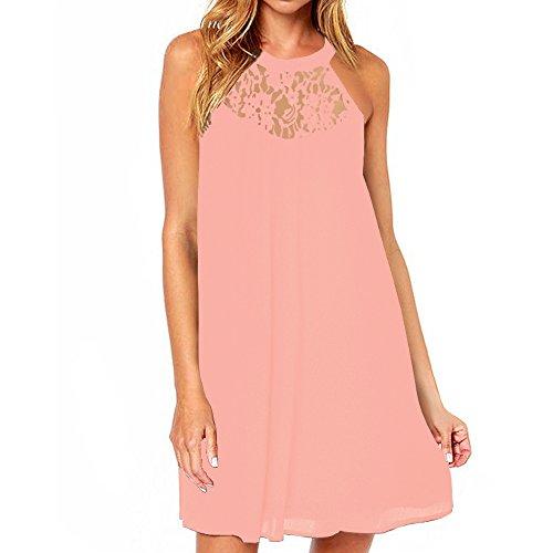 Vanberfia Women's Sleeveless Lace Patchwork Loose Casual Mini Chiffon Dress (M, 6334)