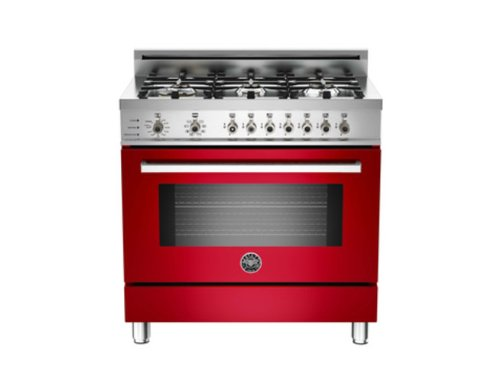 Pro366Dfsro | Bertazzoni Professional 36 Dual Fuel Range, 6 Burners, Natural Gas - Rosso Red
