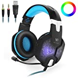 HITSAN INCORPORATION KOTION Each G1000 Professional 3.5mm Plug Bass Stereo Gaming Headphone with Microphone & Colorful LED Light, for PS4, Smartphone, Tablet, Computer, Notebook(Blue) (Color: Clear, Tamaño: Standard)