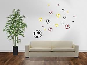 Wandtattoo Fussball Wandaufkleber 18 Sticker Bälle Deutschland Flagge XL-Set