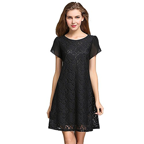 Foru da donna Plus Size Lace Loose vita Hollow out uncinetto floreale Shift vestito L-5 X L Black,Navy blue,White,Wine Red XXL