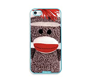 Shawnex Sock Monkey Aqua Plastic iPhone 5 & 5S Case - Fits iPhone 5 & 5S