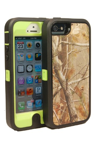 Defender Realtree Series Case For Iphone 5 - Ap On Green Plastic Comparable To Otterbox Plus Bonus Fish Headphone Winder And Colored Stylus + Breast Cancer Awareness Bracelet, Only By Big Deals Plus