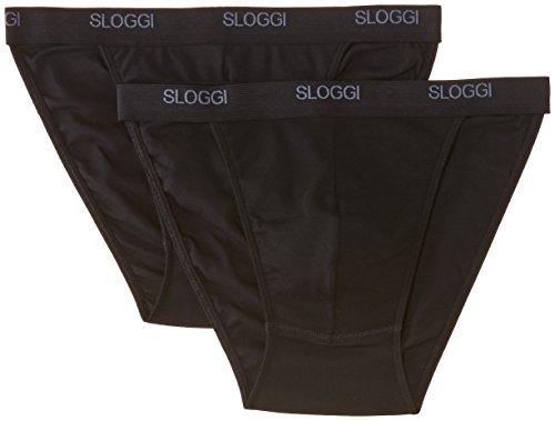 Sloggi - Sloggi Men Basic Tanga Brief, Perizoma da uomo, 2 pezzi, nero (black), M