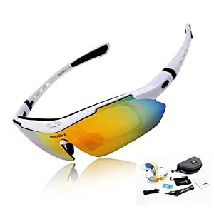 WOLFBIKE Polarized Cycling Sun Glasses Outdoor Sports Bicycle Glasses Bike Sunglasses Running Driving Racing Ski Goggles Eyewear Cool with Exchangeable 5 Lens White Frame