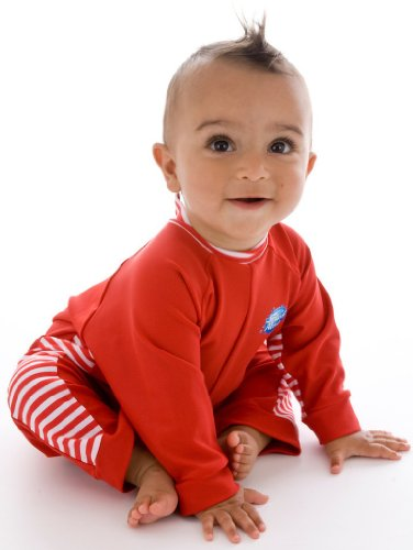 Splash About Uv All-In-One Suit (Sun Protection), Red/Red & White Stripe, 1-2 Years front-852388