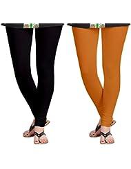Aannie Women's Cotton Slim Fit Leggings Combo Pack Of 2(Pure Black,Soil Red)