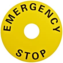 Omron A22Z-3466-1 Emergency Stop Switch Snap-in Legend Plate, 60mm Diameter, Round, Black Text, Yellow Background