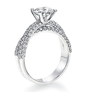 Diamond Engagement Ring in 18K Gold / White Certified, Round, 1.82 Carat, J Color, SI1 Clarity