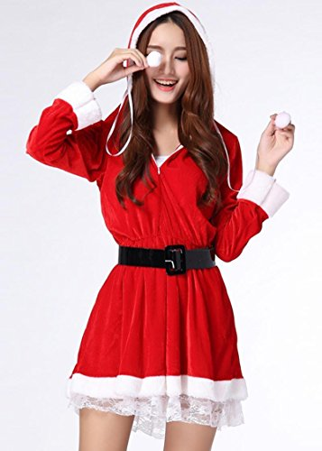 CYNDIE Christmas Sexy Xmas Decor Sleigh Belle Santa Chirstmas Costume Hooded Dress for Women (Sleigh Belle Sexy Costume)