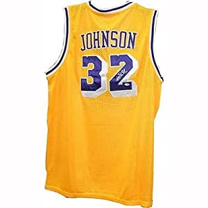 Magic Johnson Los Angeles Lakers Signed Yellow Replica Lakers Jersey Steiner COA by Your+Sports+Memorabilia+Store