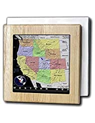 Florene Maps Of Countries In Exotic Format - Image of Vivid Color Map Of Western America - Tile Napkin Holders - 6 inch tile napkin holder by 3dRose