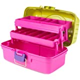 "Creative Options Creative Options 2-Tray Art Box -14.25""X8.5""X7.75"" Green, Magenta, Purple"