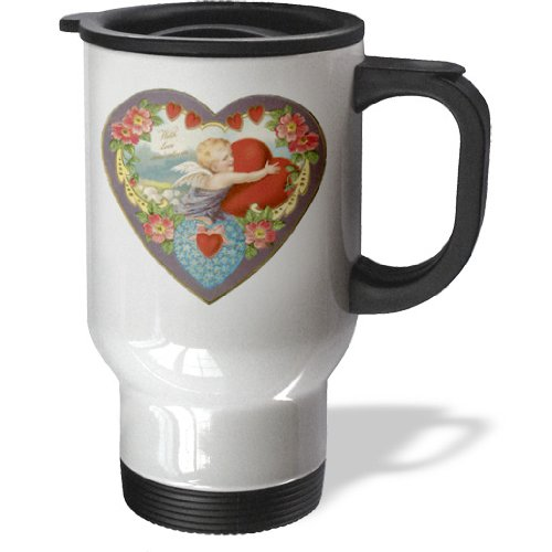 Tm_169996_1 Bln Victorian Valentines Day Card Reproductions - Heart Shaped Victorian Valentine With Cupid Hugging A Red Heart - Travel Mug - 14Oz Stainless Steel Travel Mug