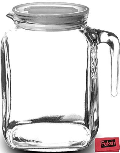 Drinking Bundle - Hermetic Seal Glass Pitcher With Lid and Spout Great for Homemade Juice & Iced Tea or for Glass Milk Bottles - Bundled with Cloth (Small Pitcher With Spout compare prices)