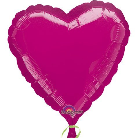 1 X Heart Foil Balloon (Fuchsia)