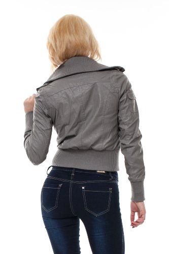 VIRGIN ONLY Women's High-Grade Faux-Leather Jacket-L-Gray