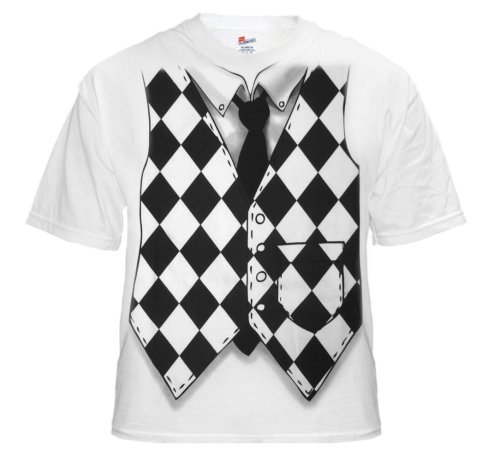 Checker Board Vest Tuxedo T-Shirt (White) #9/#15