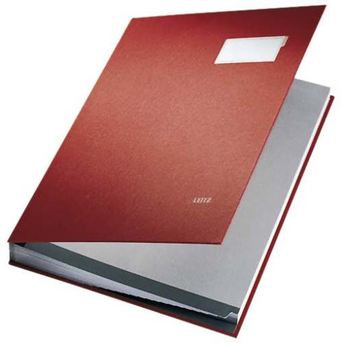 Leitz 57010025 Unterschriftsmappe, 10 Fächer, Überzug PP, rot