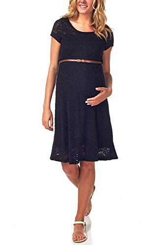 PinkBlush Maternity Black Lace Belted Maternity Dress, Small