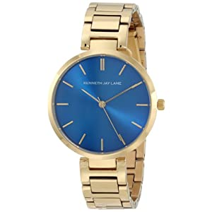 Women's Blue Dial Gold Tone IP Stainless Steel