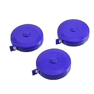 3 Pcs 150cm 60 inch Push Button Blue Case Soft Retractable Tape Measure