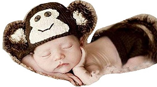 CX-Queen Newborn Monkey baby Girls Boy Knit Crochet Clothes Photo Prop Outfits