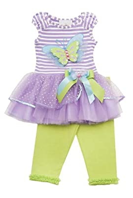 Rare Editions Baby-Girls Striped Butterfly Tutu Dress with Leggings 6M (E673564)
