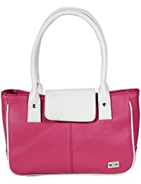 Stylish Pink Color Imported PU Leather Casual Handbag With Double Handle For Women's/Ladies/Girls