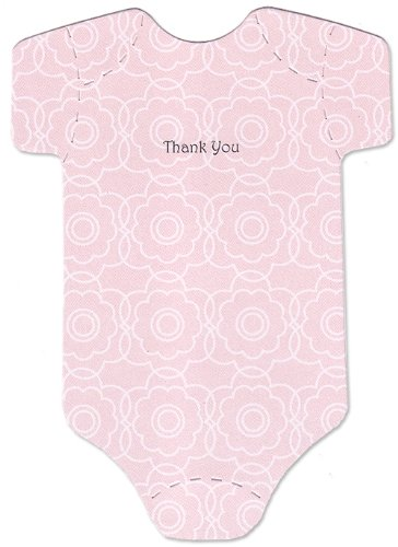 Baby Thank-You Cards - Cute Onesies - Pink Flower Pattern - Baby Girl Thank-You Notes