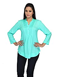 lol Blue Color Plain Casual Top for women