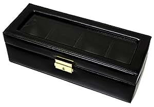 腕時計 ケース コレクションケース 4本収納 時計 コレクションボックス レザー シャイニーブラック [並行輸入品]