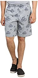 Broche Men's Cotton Shorts (Broche9004-M, Grey, Medium)