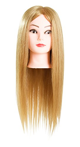 23″ (Mary) Cosmetology School Student Beauty School Cuuting Braiding Practice Cosmetology Mannequin Head Tranining head 80% Real Hair Blonde