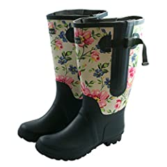 Extra Wide Fit Rain Boots - 2 Tone Floral: Up to 21