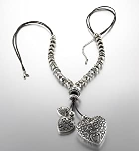 Per Una Silver Plated Sevilla Hearts Beaded Necklace